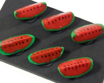 Set of 6: Watermelon Fruit Magnets Handmade from Polymer Clay
