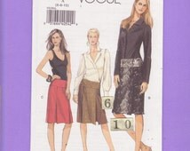 Women's, Teen's Low Rise, Yoked Skirts/ Vogue 8199 pleated, knee length, slim straight skirts UnCut Sewing Pattern/ Size 6 8 10 waist 23 -25