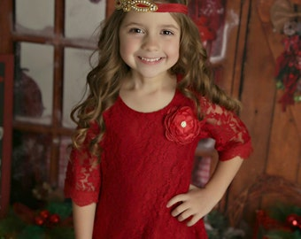 Red flower girl dress, Red lace Dress, Girls Christmas dress, Christmas dress, Red lace dress, rustic flower girl dress, flower girl dress.