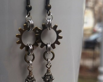 Gold and silver steampunk hardware crystal upcycled earrings handmade jewelry