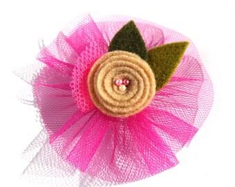 Flower Hair Clip Felt Hair Clip Tulle Hair Clip Flower Hair Accessory Violet Clip Felt Flower Felt Barrette Hair Barrette Kids Accessory
