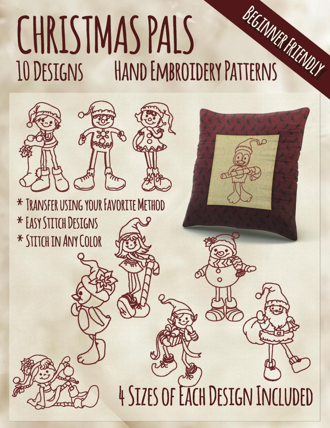 Sale hand embroidery patterns christmas pals in sizes pdf
