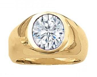 2.25 ct Men's Forever One Moissanite Solitaire Ring - Oval Moissanite Men's Wedding Ring Men's Band Rings for Men For Him