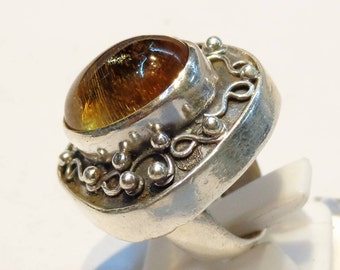 Fantastic Amber  925 Sterling Silver Ring Orange Casajewels R281