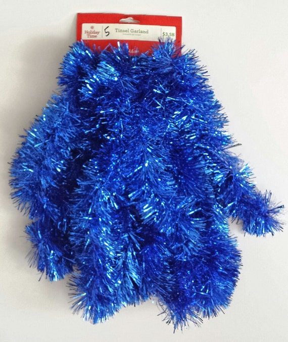 Colored christmas tinsel garland blue