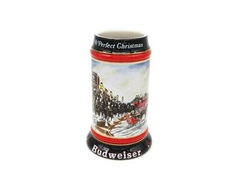 Budweiser Stein, Budweiser Clydesdale, Beer Stein, Budweiser Glass, Budweiser Vintage, Clydesdale, Stein, Budweiser, Budweiser Holiday 1992