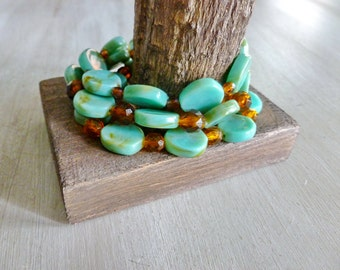 Acrylic Bracelet, Turquoise Bracelet, Stacking Bracelet Set, Stretch Bracelet Set, Stretch Bracelet, Faux Turquoise, Turquoise and Brown