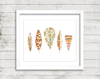 Feather Row Neutral Tan Wall Art