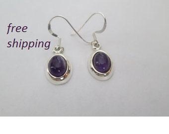 Amethyst silver earrings, 92.5 sterling silver
