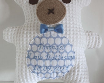 "Custom Teddy, Christening Gift. Embroidery with baby name,""YOUR CHRISTENING"" and the date. Keepsake, memory, custom embroidery, Babtism gift"