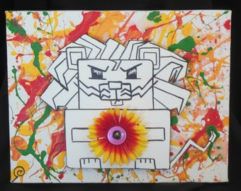 Cartoon Lion and Flower - 3D Acrylic Painting and Carved Wood Design on a Bright Canvas - Lion Art, Animal Art, 3D Cartoon Art, Tough Lion