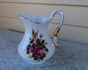 "Vintage Ceramic Pitcher ""Victoria"" Hand painted"