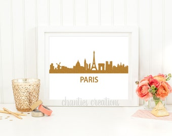 Paris Gold Glitter Skyline Printable Wall Art. Home Decor Paris. Paris Skyline.