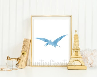 Pterodactyl Light Blue Wall Art Printable. Dinosaur Printable Wall Art. Little Boys Room Printable Wall.
