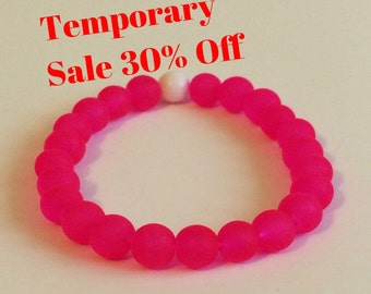 30% Off! Hot Pink 8mm Woman's Stretch Glass Bracelet Dainty Bohemian Plus Size Stackable Beaded Jewelry Stacking Abundance Woman Gift Idea