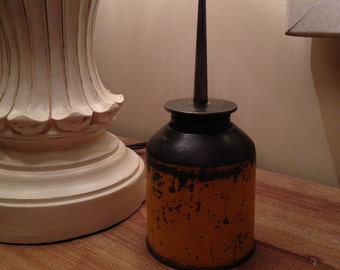 Vintage Metal Yellow Oil Can