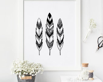 Black and White Feathers Printable, Feathers Wall Art Printable, Tribal Wall Art, Tribal Wall Decor, Teen Wall Art, Black and White Decor