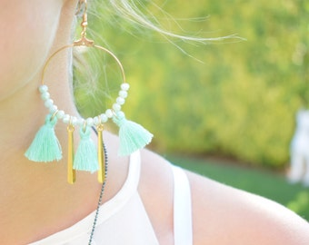 Mint Green Hoop Earrings / Bohemian Hoop Earrings / Tassel Hoop Earrings / Beaded Earrings / Christmas Gift For Her/ Stocking Stuffers