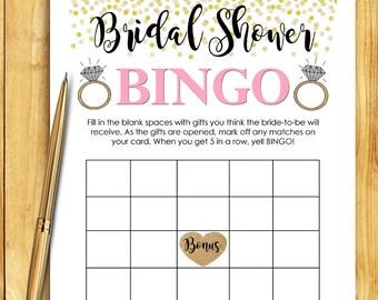 Bridal Shower BINGO Game Download - CORAL & GOLD Glitter Confetti Instant diy Printable Digital Download - diy Bridal Shower Printables