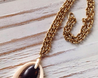 """Ivory and wood pendant on gold tone chain// 22"""" necklace // OOAK // black and white necklace"""