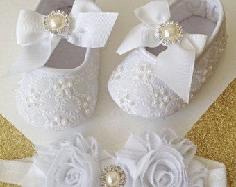 Baptism shoes- Baby girl shoes - White baby shoes-baby shoes-baby girl shoes-infant shoes-christening shoes-baptism-white shoes