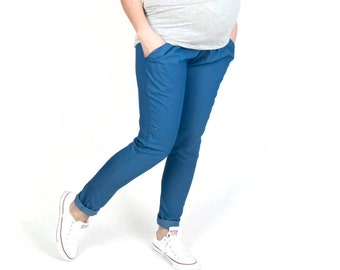 Maternity Trousers/Maternity Pants  Over-the-bump jersey Blue/Ecru