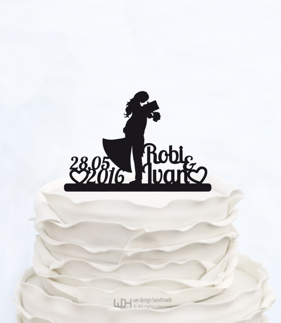 WEDDING CAKE TOPPER With Names Date Cake Topper Rustic Cake