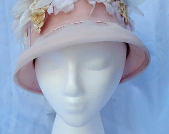 Light Pink Vintage Hat, Pink Chiffon with Polyester and Velour Flowers, Pink Cloche Style Hat