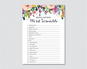Floral Bridal Shower Word Scramble