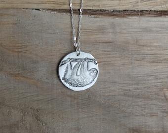 Sloth - fine silver pendant