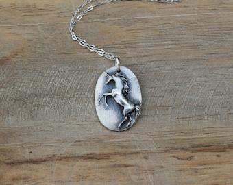 Unicorn - Horse fine silver pendant