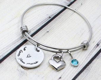 Personalized Bracelet - I Love You More Bracelet - Hand Stamped Bangle - Heart Bracelet - Expandable Bangle - Gift for Woman - Gift for her