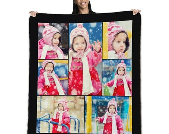 """Personalized 60"""" x 50"""" Photo Collage Sherpa Throw Blanket"""