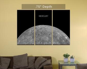 "Planet Mercury- 3 Canvas Split (.75"" Depth)"