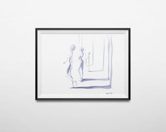 Illustration shadows. Illustration giclee. Available immediately. Ready to ship.
