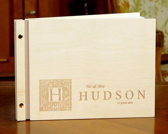Rustic Wedding Guest Book Wooden Personalized Custom Weddign Guestbook Wedding Book Wood