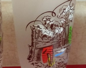 Collectible Currier & Ives/Hazel Atlas/Gay Fad Studios Frosted Glass Tumbler