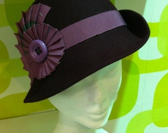 Hat handmade 20s style style felt hat, 20s, made in italy
