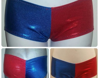 Harley Quinn suicide squad Metallic shimmer blue and red two tone scrunched ruched back boyshorts - booty shorts - bikini bottoms!