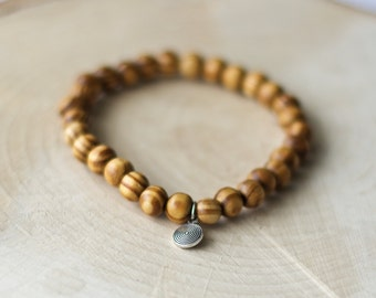 Mens wood bracelet, wood from Peru - charm OHM yoga Silver - gift