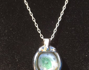 Tourmaline And Vintage Watch Dial Pendant