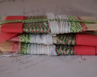 3 X 6 Trim Tags // Journal Art Craft Sewing Trims // Ribbon Lace Trim Cord Rick Rack // Small Bits of Fancy Color & Shine