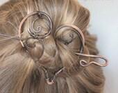 Copper Hair Barrette, Hair Pin, Heart Shape Hair Slide Red Crystal Beads, Wire Wrapped Hair Stick, Hair Clip, Hair Accessories Gift Women