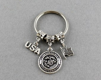 SRA 8174 Marine Corps Keychain | Marine Corps Key Ring | Thank You For Your Services Marine Corps Gifts Under 20 Dollars | Gift For Marine