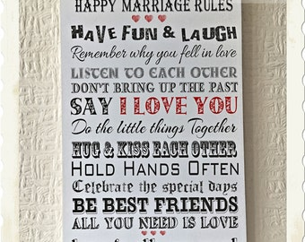 Wedding Gift Rules : Happy Marriage Rules Perfect Wedding Gift Wooden Card Wishes W103