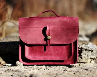 Leather Bag - Leather handbag - Leather Crossbody Bag - Leather Messenger Bag - Leather Shoulder Bag - Mini Messenger Bag - Leather Satchel