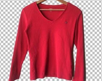 SALE MEDIUM 90s Tommy Hilfiger Red Longsleeve T-Shirt // Tommy Hilfiger Logo T-Shirt // Tommy Hilfiger Basics Women's Medium