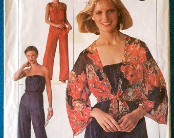"Vintage 1976 jumpsuit playsuit jacket cover up sewing pattern - Simplicity 7748 - size 12 (34"" bust, 26.5"" waist, 36"" hip) - 1970's"