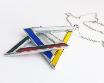 Stained glass pendant-Mondrian-blue-red-yellow-white-black-modern-hipster-geometrical