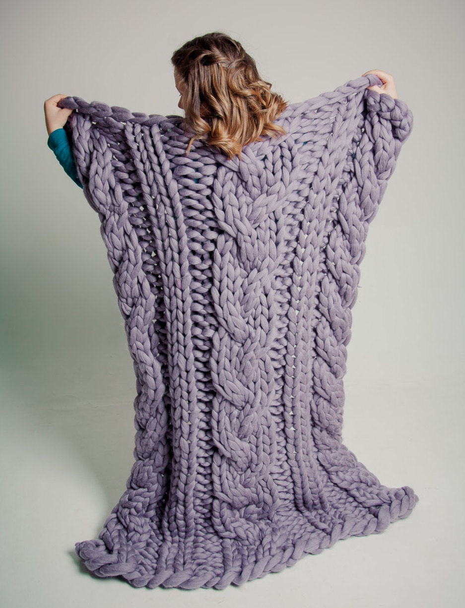 Cable Chunky Knit Blanket Wedding gift Home Decor Anniversary